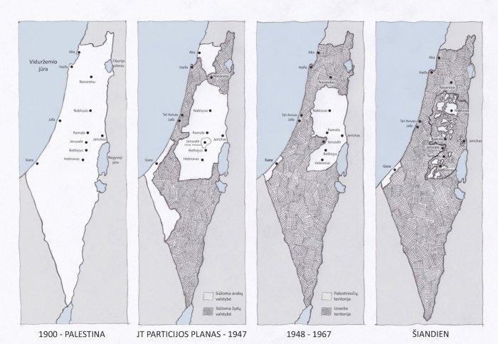 Palestinos žemėlapis. Nuo 1900 iki dabar