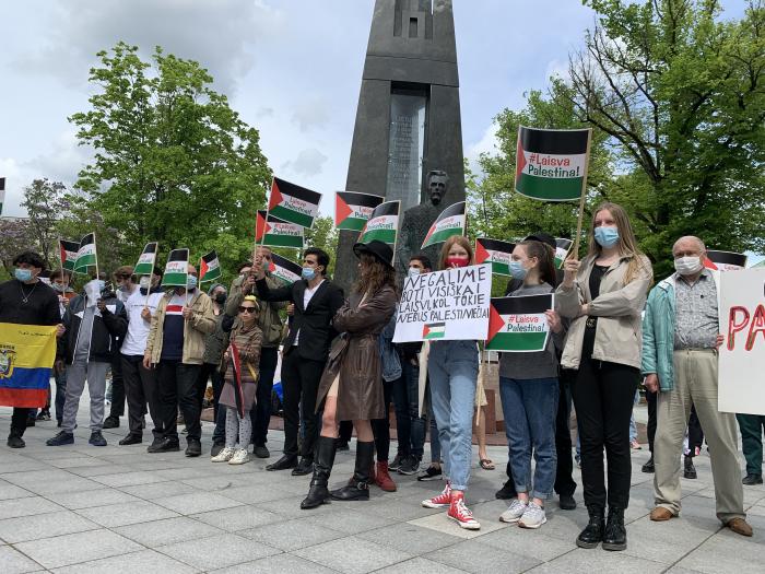 """Protesto akcija """"Aš esu palestinietis"""". Nuotr. Karolis Vyšniauskas, NARA."""