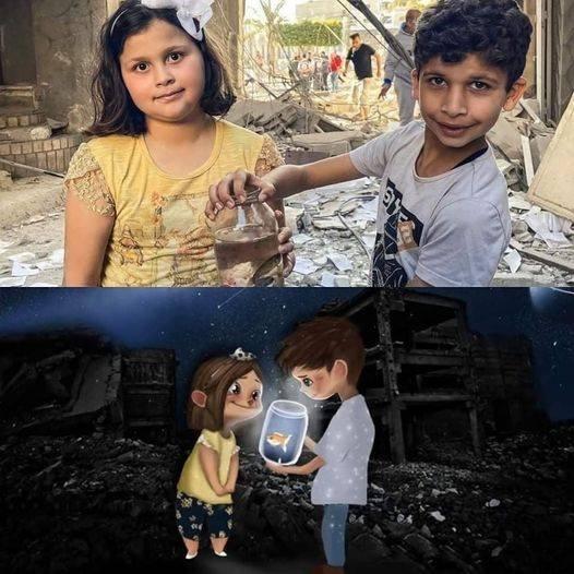 Gazos vaikai džiaugiasi iš griuvėsių išgelbėję savo žuvytę