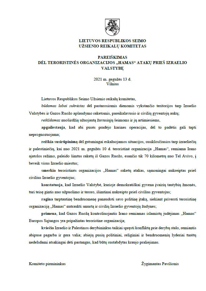 LR Seimo užsienio reikalų komiteto pareiškimas