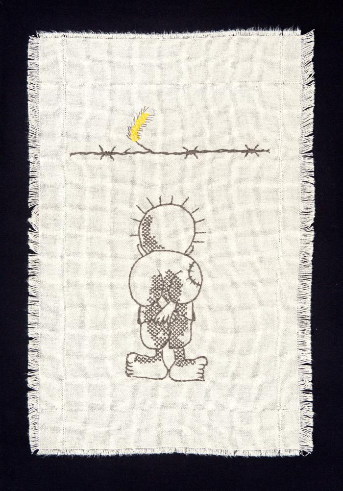 Išsiuvinėta Handala – Palestinos kovos už laisvę ir teisingumą, už tremtinių teisę sugrįžti namo simbolis.