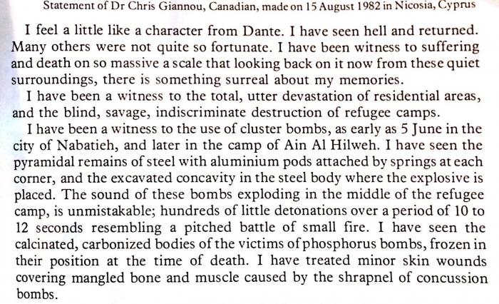 Kanadiečio Chris Giannou liudijimas apie Izraelio vykdytus karo nusikaltimus