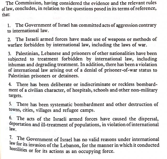 Ištrauka iš Tarptautinės komisijos ataskaita tiriant Izraelio padarytus tarptautinės teisės pažeidimus per Izraelio invaziją į Libaną.