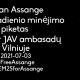 Julian Assange 50 gimtadienio minėjimo piketas prie JK ir JAV ambasadų Vilniuje