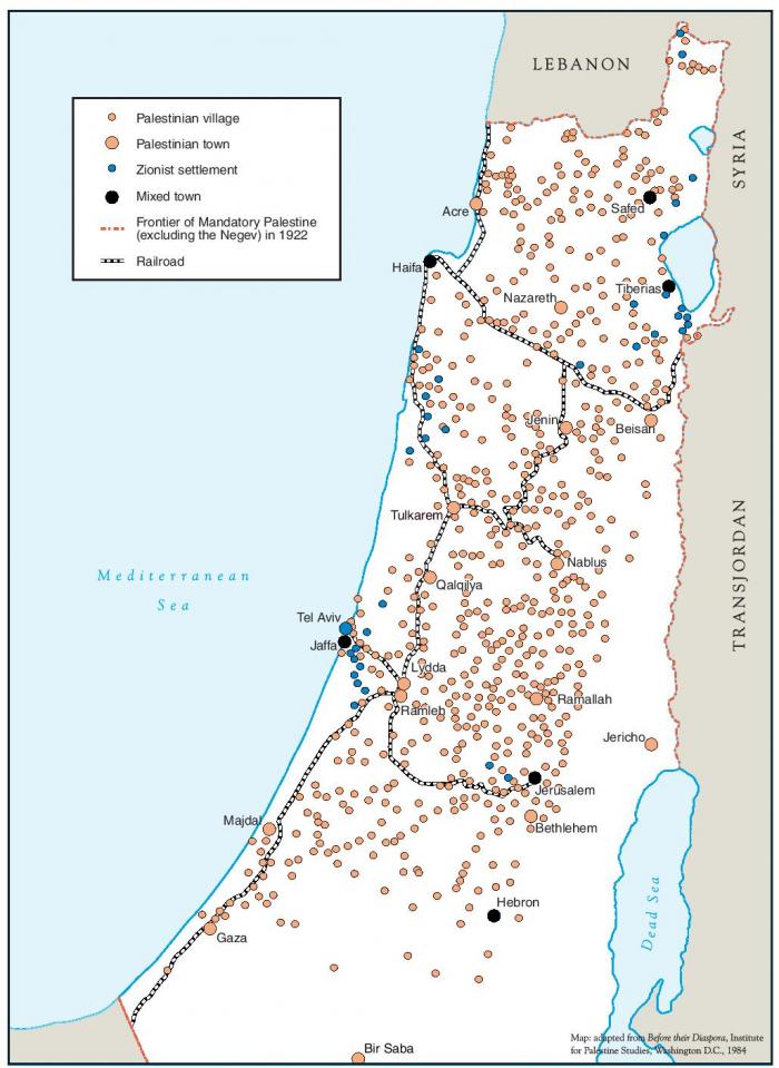 Palestinos žemėlapis 1922 m.