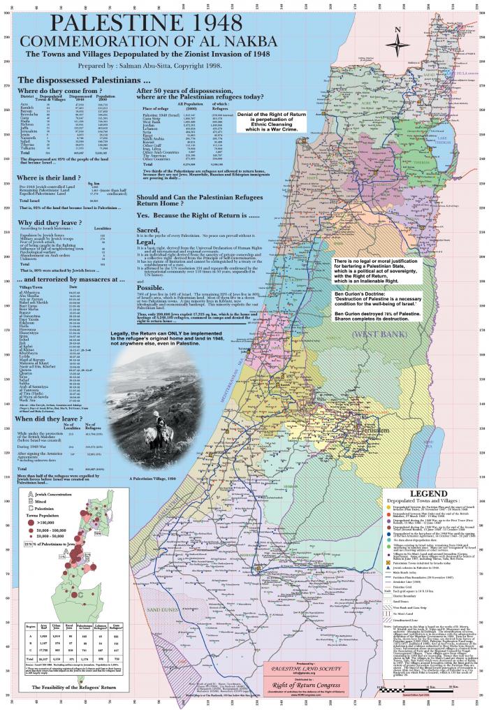 """Palestina 1948-aisiais. Sionistų """"išvalyti"""" Palestinos kaimai ir miestai."""