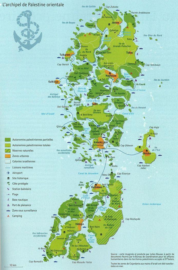 """Prancūzo Julieno Bousac'o sukurtas meninis žemėlapis """"Palestinos archipelagas"""""""